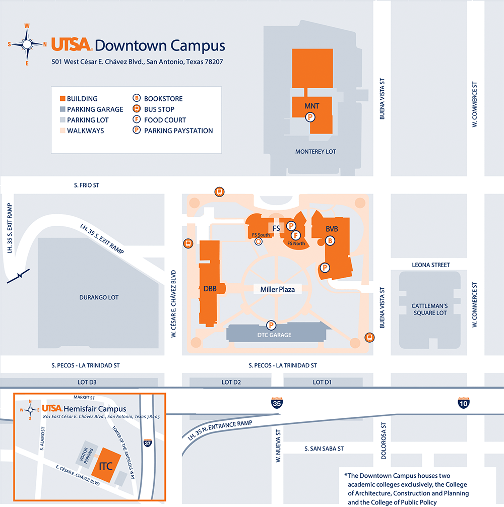 Map Of Texas San Antonio.Downtown Campus Utsa University Of Texas At San Antonio