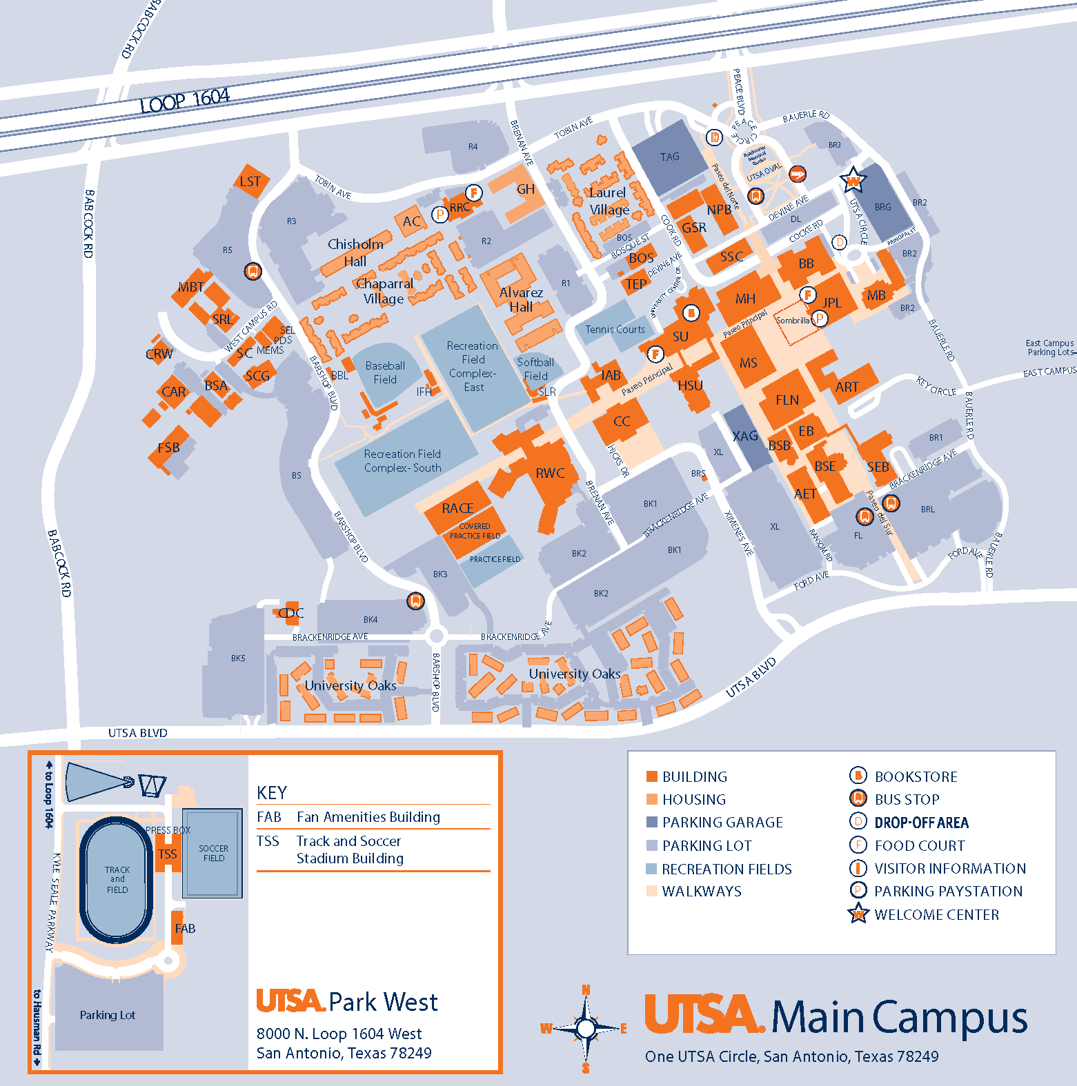 Map Of Texas San Antonio.Main Campus Utsa University Of Texas At San Antonio
