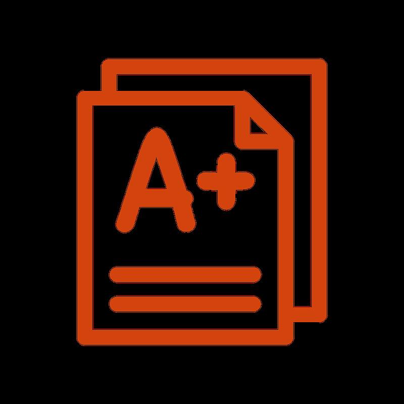 A letter grade icon