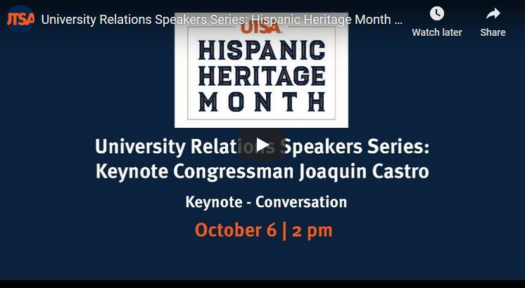 Hispanic Heritage Month Keynote Address Congressman Joaquin Castro