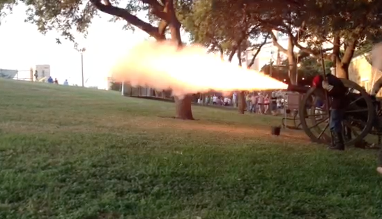 Cannon fire at the 2012 Folklife festival