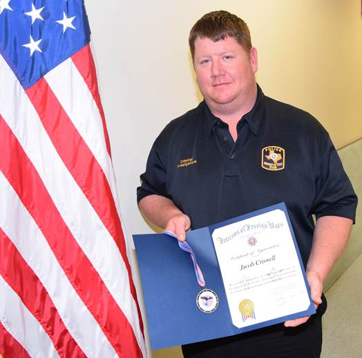 Corporal Jacob Criswell receives award