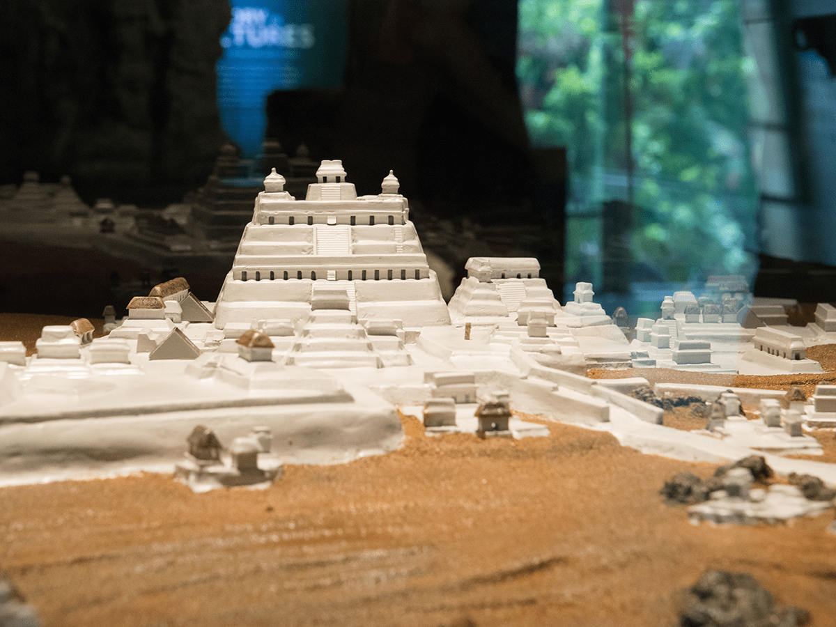 scale model of temples in a Maya archaelogical site