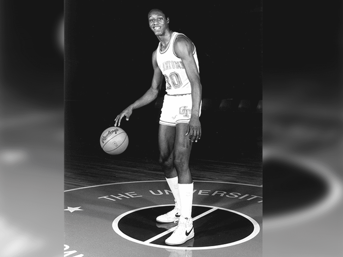 A publicity shot of Derrick Gervin. His team number, 30, was later retired by UTSA, and a Gervin jersey hangs in the Convocation Center.