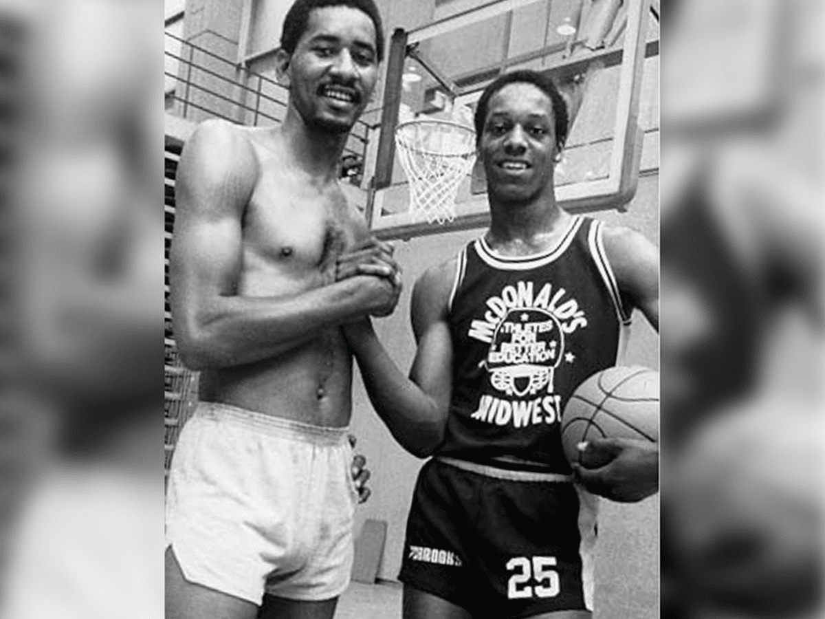 While still in high school Derrick Gervin poses for a photo with his brother, San Antonio Spurs legend George Gervin.