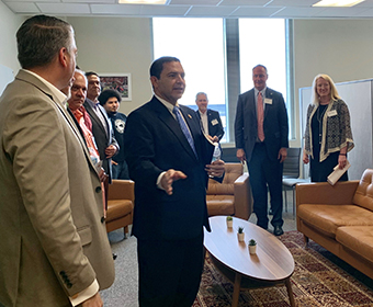 Congressman Henry Cuellar visits the UTSA National Security Collaboration Center