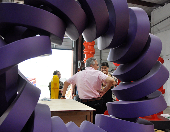 Almeida and his team discuss other pieces of sculpture to be moved to UTSA's campuses