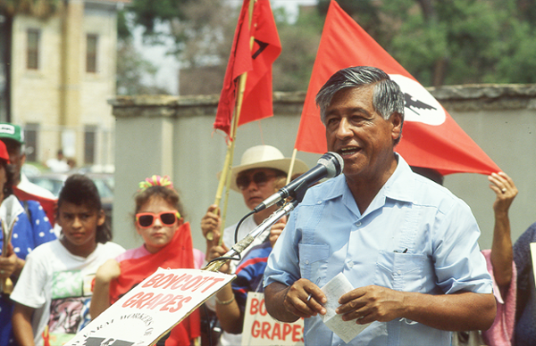 Labor leader and civil rights activist César Chávez speaks at a United Farm Workers rally outside H-E-B headquarters in San Antonio