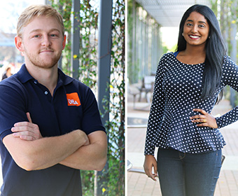 UTSA students Ryder Billo and Manojna Kintada benefit from Alumni Association scholarships