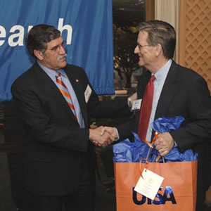 UTSA President Ricardo Romo greets SwRi President Dan
