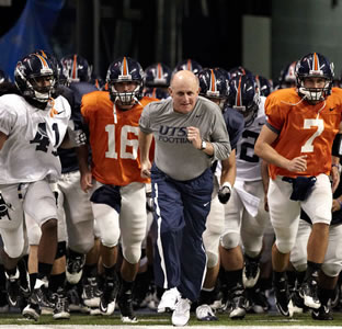 UTSA football team and coach