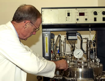 Professor James Chambers with bioreactor