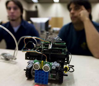 students and LEGO robot