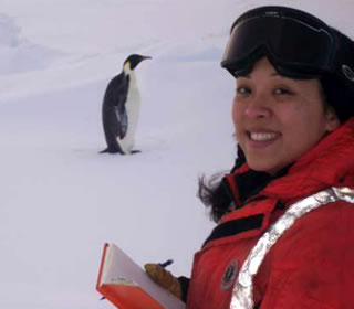 researcher and penguin