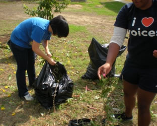 Volunteers help with garden clean-up