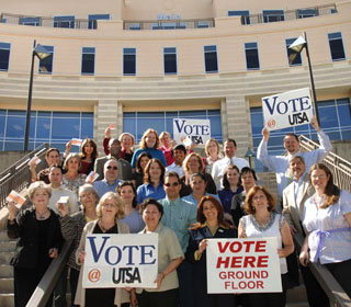 early-voting advocates at UTSA