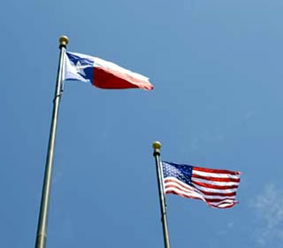 Texas and U.s. flags