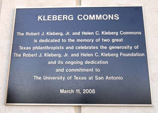 Kleberg Commons plaque