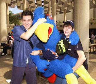 students and Rowdy Roadrunner