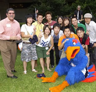 President, students and Rowdy Roadrunner