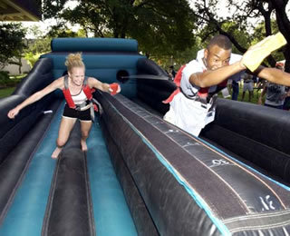students on slide