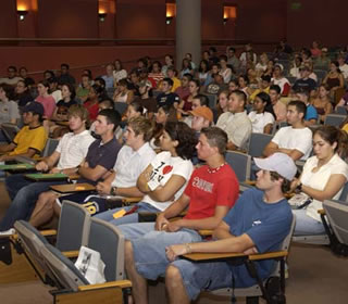 students in orientation session