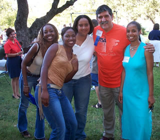 Pres. Ricardo Romo and students