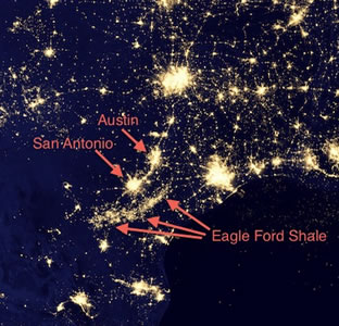Eagle Ford Shale from space