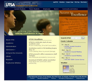 new UTSA home page