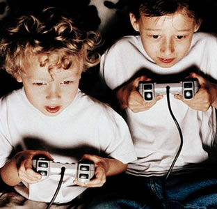 kids play video game