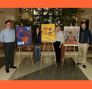 Homecoming poster design contest awards: From left are Christian ...