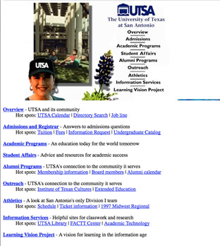 screenshot of old website