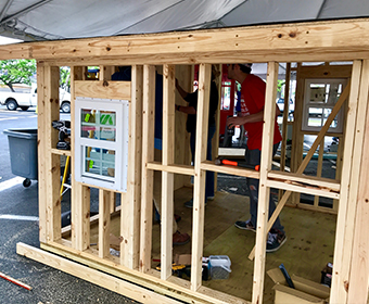 Playhouses were designed and constructed by UTSA architecture, construction and interior design students