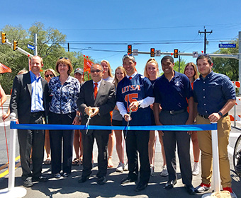UTSA and city leaders held a ribbing cutting to mark the completion of the Kyle Seale Parkway project