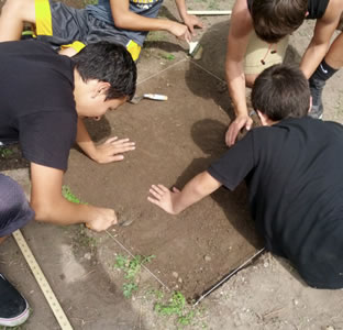 mock dig at archaeology camp