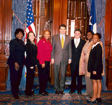 Rep. Ruth Jones McClendon, Gov. Rick Perry and McClendon Scholars