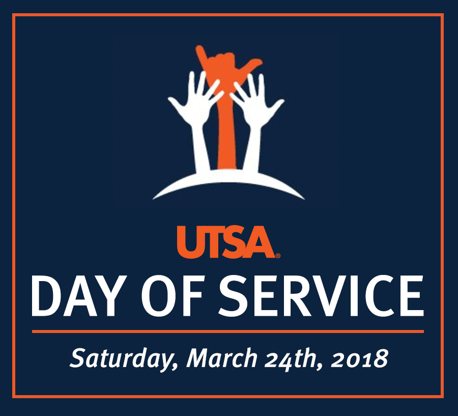 UTSA's Day of Service. Join the UTSA community as it gives back to San Antonio.