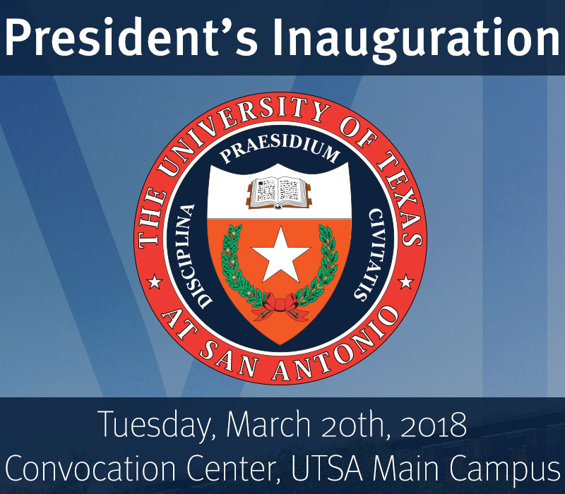 This is an image promoting the inauguration of UTSA's sixth President Taylor Eighmy, it shows the President's seal beautifully displayed in front of a blue sky with the roman numerals VI ever so faded behind the seal, this wonderful event will take place on Tuesday, March 20th, in the Year of Our Lord 2018. The event will be held at the Convocation Center at the UTSA Main Campus.